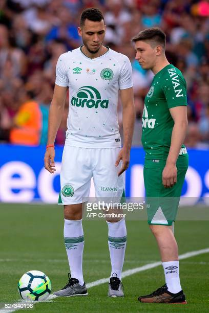 Chapecoense's defender Neto and Chapecoense's former goalkeeper Jakson Follmann do the honour kickoff before the 52nd Joan Gamper Trophy friendly...