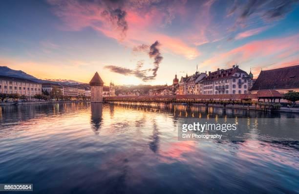 Chapel Bridge in Lucerne city, Switzerland
