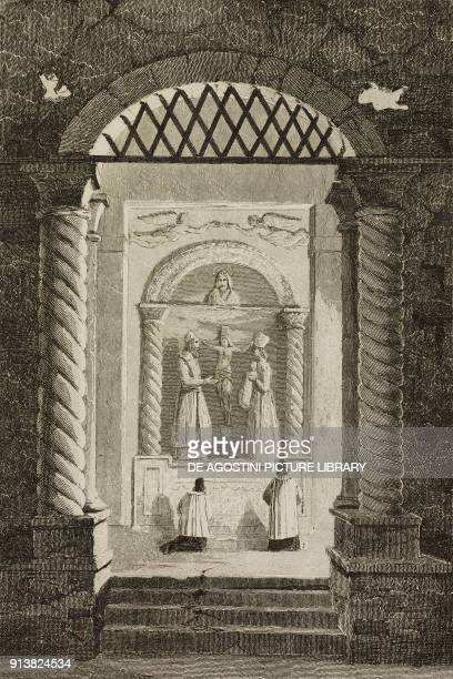 Chapel carved out of the rock salt located 500 feet underground Wieliczka salt mine Poland engraving by Lemaitre and Danvin from Pologne by Charles...
