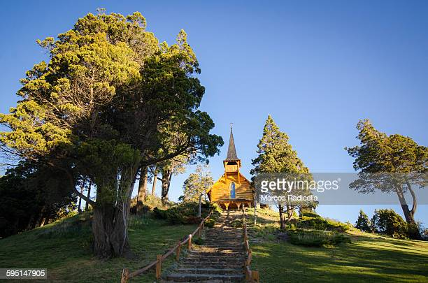 chapel in bariloche, argentina - radicella stock pictures, royalty-free photos & images