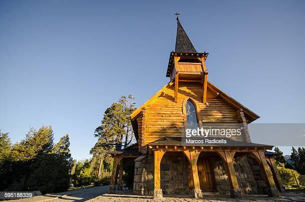 chapel in san carlos de bariloche - radicella stock photos and pictures