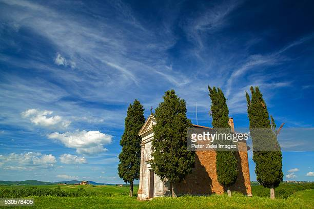 chapel of our lady of vitaleta in san quirico d'or - san quirico d'orcia stock pictures, royalty-free photos & images
