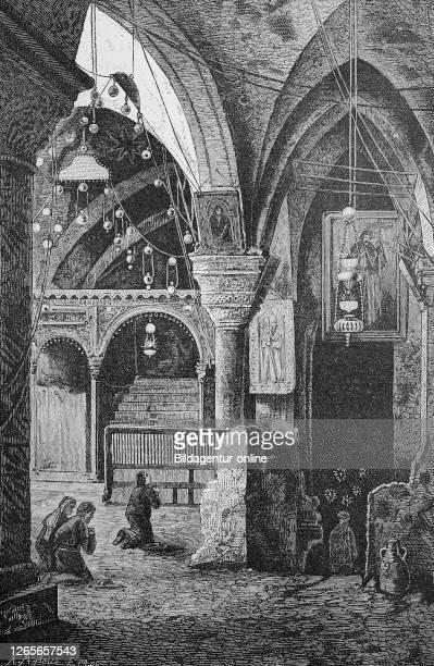 Chapel of Saint Helena in the Church of the Holy Sepulchre Jerusalem Israel / Helenenkapelle mit dem Eingang zur Kreuzfindungskapelle in der Kirche...