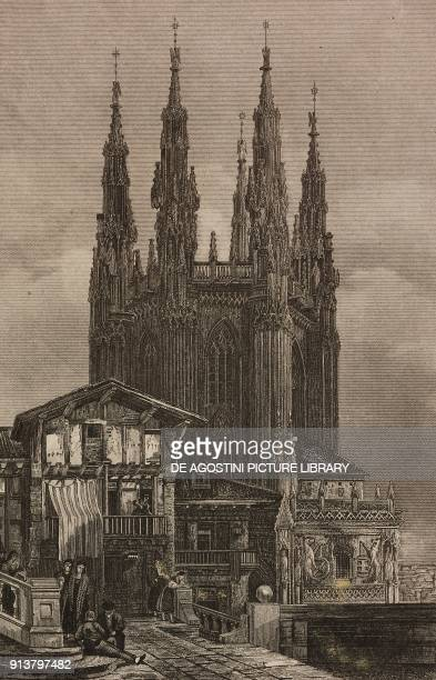 Chapel of the Constables Burgos Cathedral Spain engraving by Lemaitre from Espagne by Joseph Lavallee Iles Baleares et Pithyuses by Frederic Lacroix...