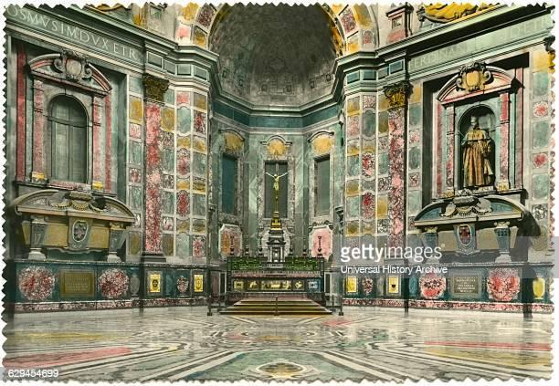 Chapel of the Princes, Medici Chapels, Basilica of San Lorenzo, Florence, Italy, Hand-Colored Postcard, 1944.