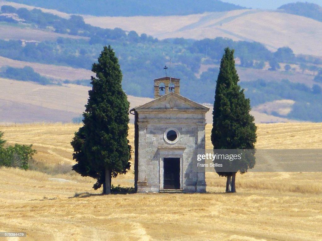 Chapel of Vitaleta in Val d'Orcia : Stockfoto