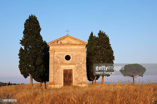Chapel of Vitaleta with Cypress Trees near sunset.