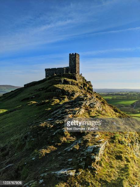chapel on a hill against sky - castle stock pictures, royalty-free photos & images