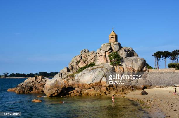 chapel on a rock france - cotes d'armor stock photos and pictures