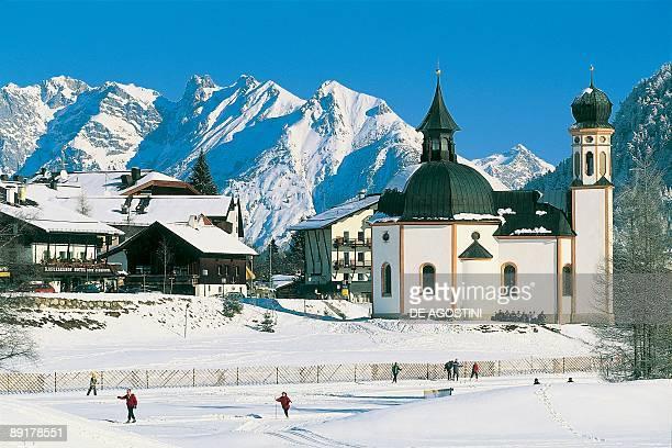 Chapel on a snowcapped landscape Seefeld Tyrol Austria