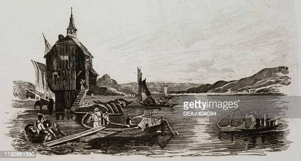 Chapel on Lake Constance engraving from La Svizzera pittoresca e i suoi dintorni by Alexandre Martin Mendrisio 1838