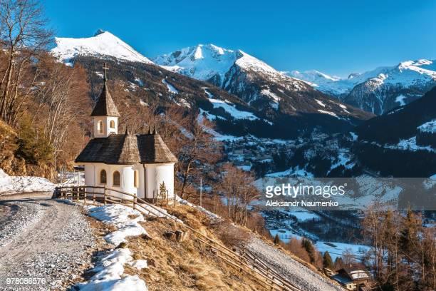 Chapel on mountain side in Austrian Alps, Salzburg, Austria