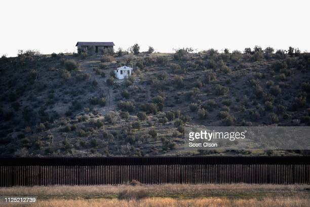 A chapel on the Mexico side sits along the border wall that separates the United States and Mexico on January 26 2019 near Jacumba California The US...