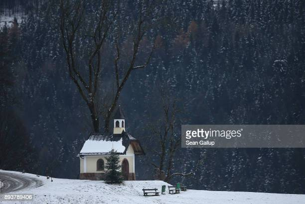 A chapel stands on Lockstein hill above the town center on December 5 2017 in Berchtesgaden Germany Berchtesgaden is located in the Bavarian Alps in...