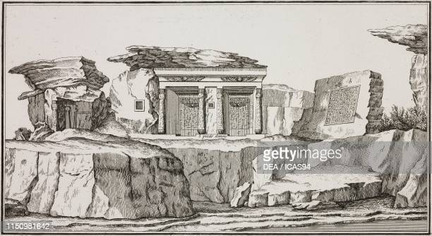 Chapels and rock with hieroglyphics near the stone where a chain was fixed to block access to the Nile Tshibel Esselsele Egypt engraving from Voyage...