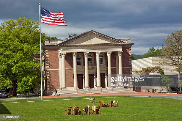 chapin hall, williams college, williamstown, the berkshires, massachusetts, usa - flagpole stock pictures, royalty-free photos & images