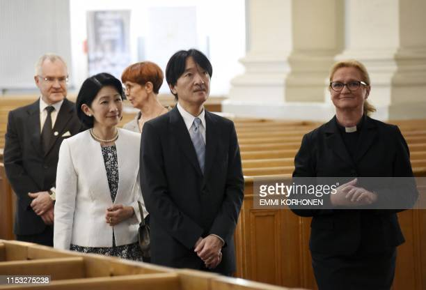 Chaplain Maija Kuoppala guides Crown Prince Akishino and Crown Princess Kiko of Japan while they visit the Helsinki Cathedral in Helsinki Finland on...