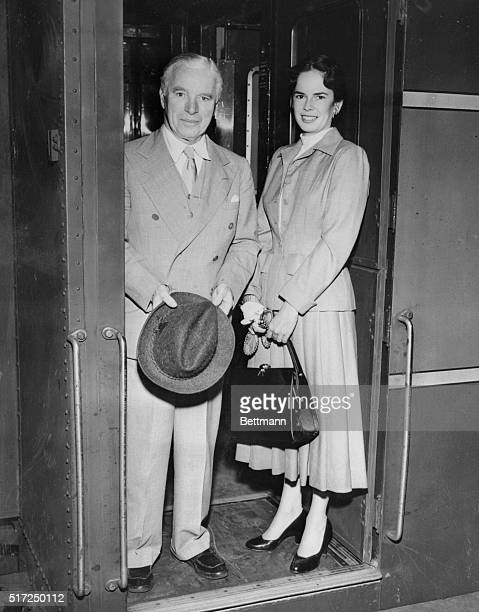 Chaplin Barred from US Until Immigration Hearing New York New York Movie comedian Charles Chaplin and his wife the former Oona O'Neill are shown on...