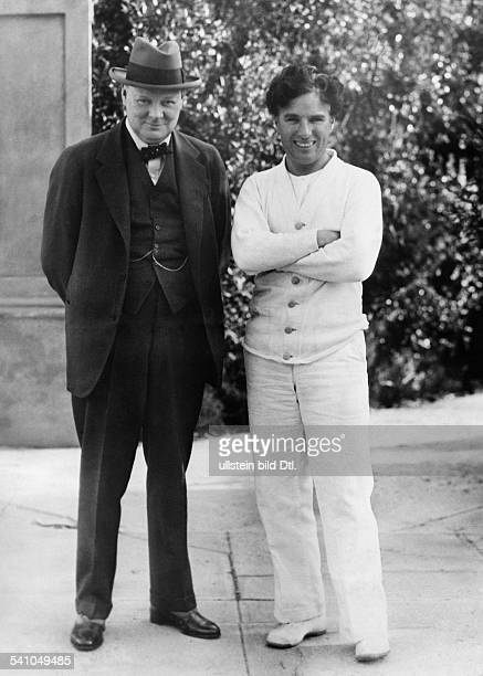 Chaplin Charlie Actor film director Great Britain *16041889 with Sir Winston Churchill in Hollywood USA 1929 Vintage property of ullstein bild