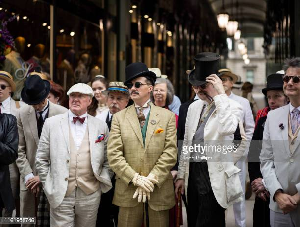 Chaps and Chapettes during The Grand Flaneur Walk, celebrating 20 years of The Chap Magazine on July 14, 2019 in London, England.