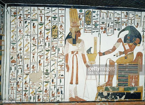 Chapter 94 of the Book of the Dead Nefertari standing in front of the god Thoth the ibisheaded scribe fresco north wall east side chamber Tomb of...
