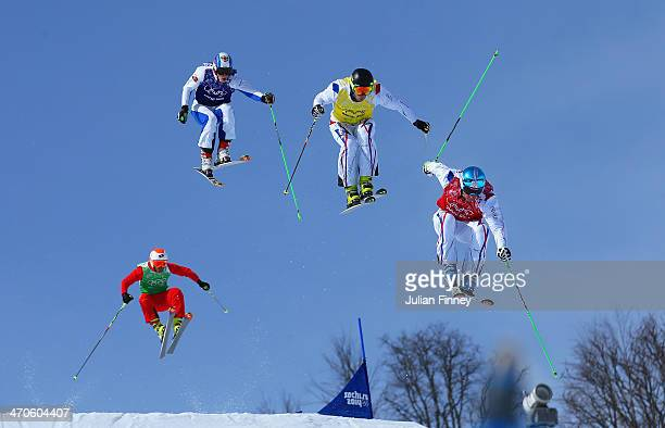 JF Chapuis Jonathan Midol of France Egor Korotkov of Russia and Armin Niederer of Switzerland make a jump in the semi final during the Mens Ski Cross...