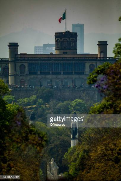 Chapultepec Castle and Reforma avenue Skyline in Mexico city