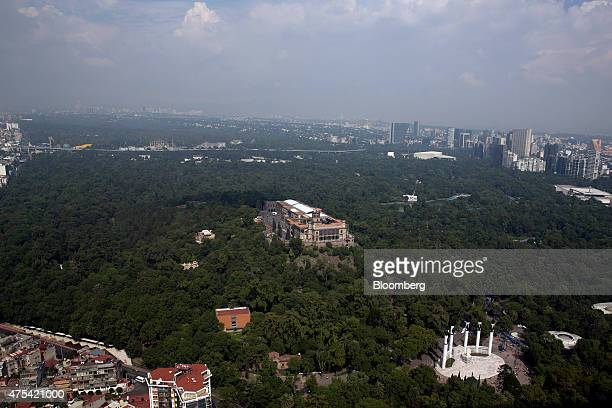 Chapultepec Castle center stands in Chapultepec Park in this aerial photo taken during a Red Wings Co TuriSky helicopter tour of Mexico City Mexico...