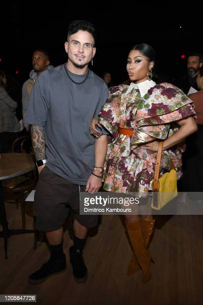 Char Defrancesco and Nicki Minaj attend the Marc Jacobs Fall 2020 runway show during New York Fashion Week on February 12 2020 in New York City