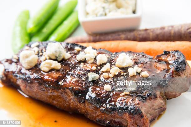 Char Grilled New York Steak with blue cheese