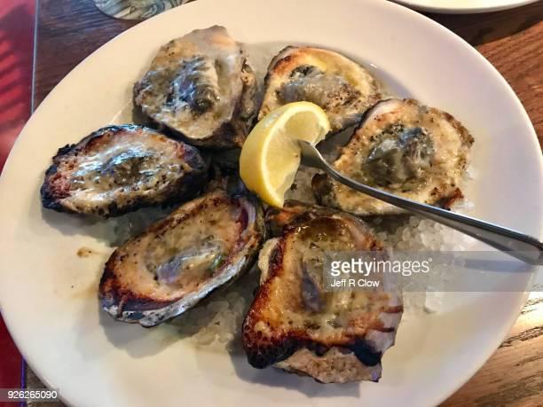 char grilled oysters - aliment grillé au charbon de bois photos et images de collection