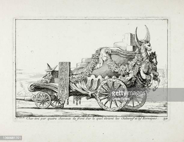 Char tiré par quatre chevaux de front, Sur lequel étaient les Sultanes et les Eunuques, plate 30 from Caravanne du Sultan à la Mecque Joseph Marie...