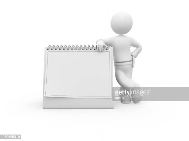 3 D Charakter und blank descktop Kalender.