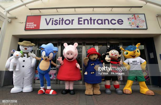 Character and mascots Sonic the Hedgehog The Snowman with Snowdog Paddington Bear Peppa Pig Fuleco and Dennis the menace at the Brand Licensing...