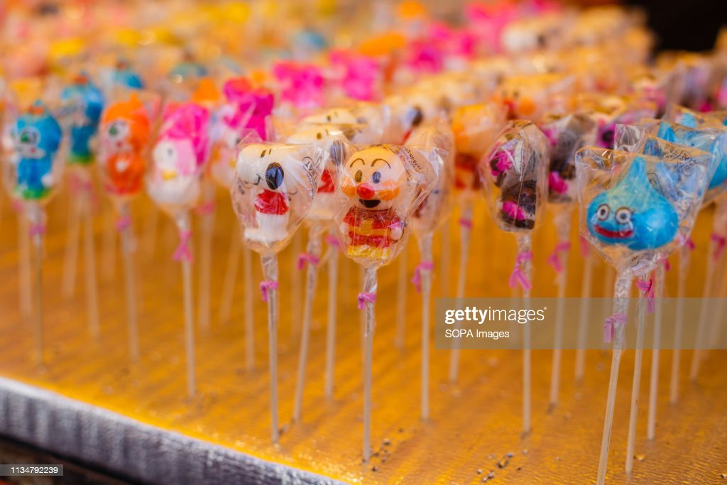 Character candy seen sold during the Iwakura Cherry Blossom... : News Photo