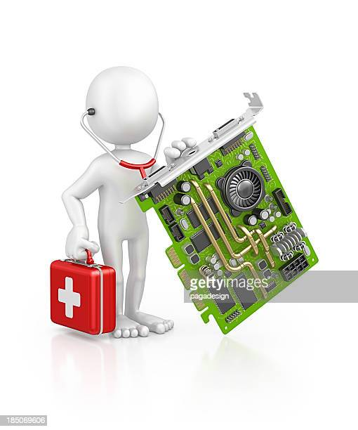 character doctor examine computer card