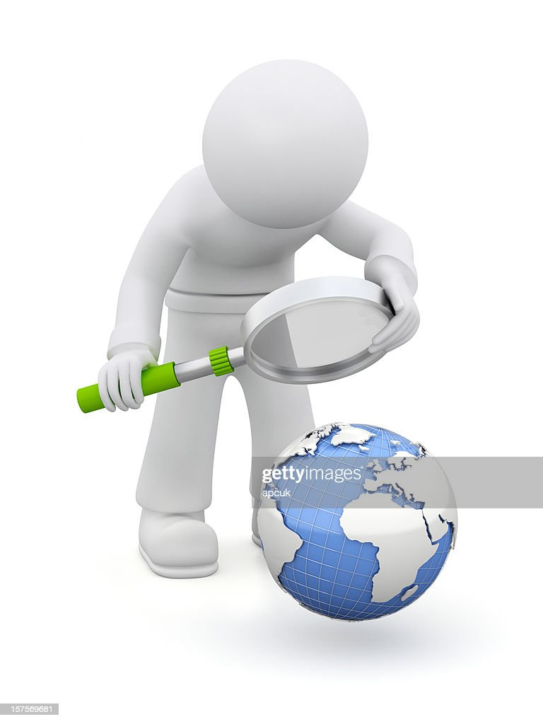 3D character examining Earth. : Stockfoto