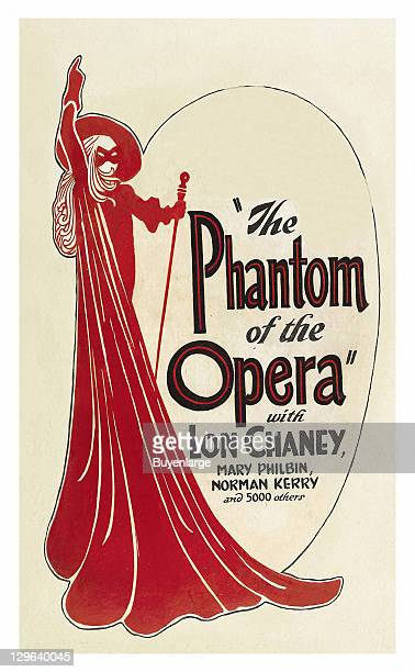 Character in a mask and red robe on a poster that advertises the movie 'The Phantom of the Opera' 1925