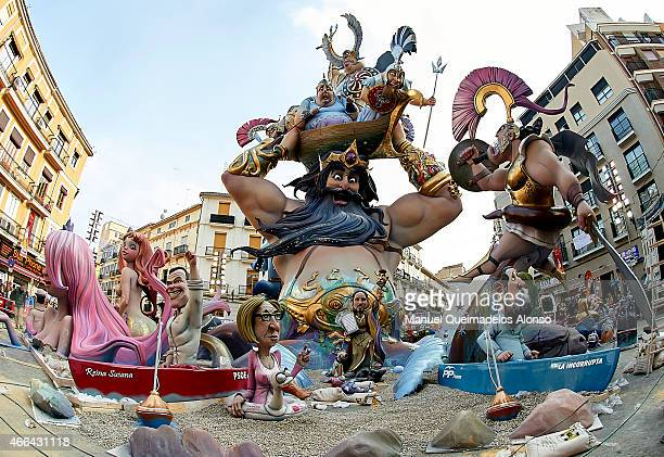 A character of the Falla del Pilar is seen during the Fallas Festival on March 15 2015 in Valencia Spain The Fallas festival which runs from March 15...