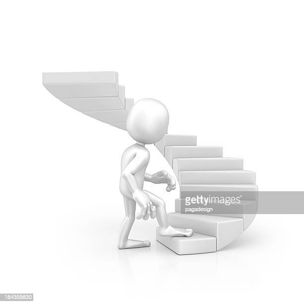 character walking on the stairs
