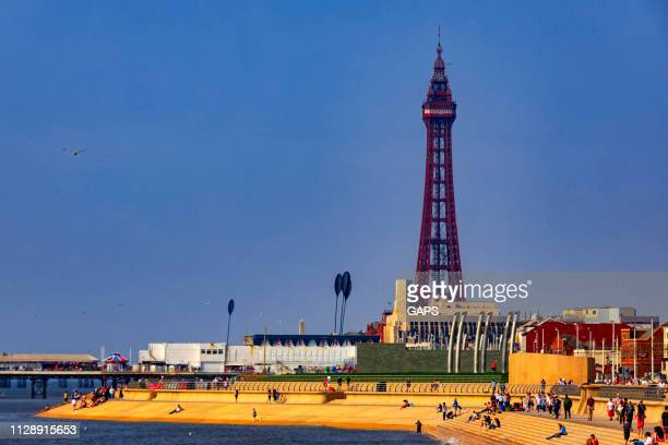 characteristic blackpool tower at blackpool - blackpool tower stock pictures, royalty-free photos & images