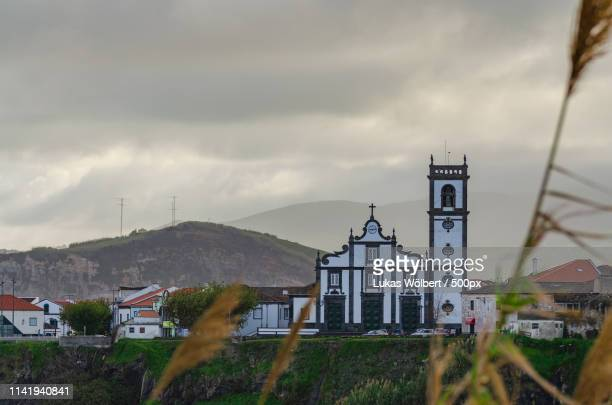 characteristic church of the azores - ponta delgada stock photos and pictures