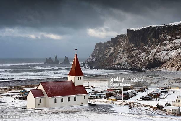 Characteristic Icelandic church at Vik