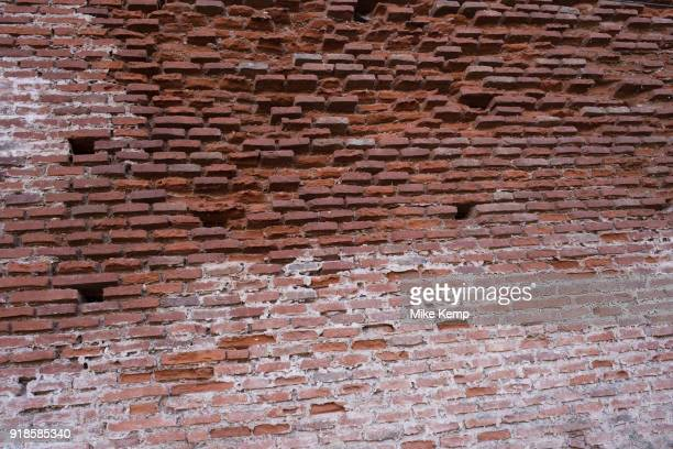 Characteristic red brickwork wall in Albi Southern France