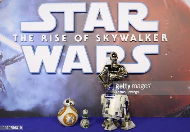 Characters BB8 DO R2D2 and C3PO attend the Star Wars The Rise of Skywalker European Premiere at Cineworld Leicester Square on December 18 2019 in...
