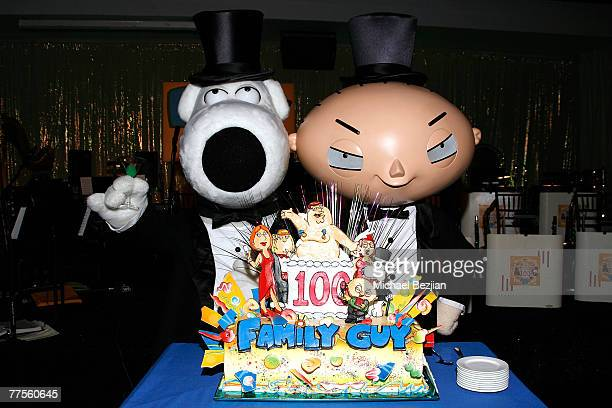 Characters Brian Griffin and Stewie Griffin pose at the Family Guy 100th Episode Party at Social Hollywood on October 29 2007 in Hollywood California