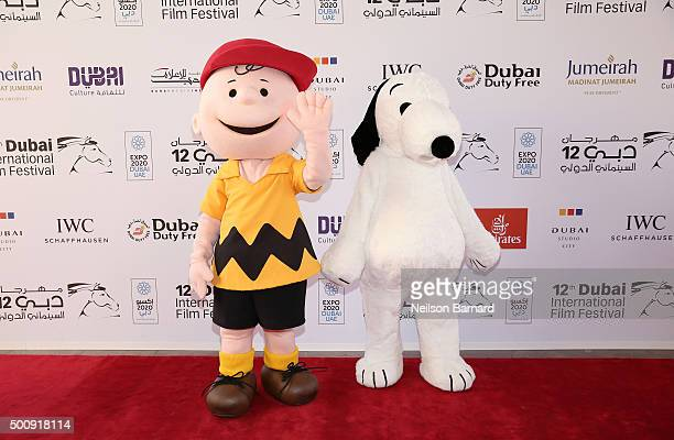Characters Charlie Brown and Snoopy attend The Peanuts Movie premiere during day three of the 12th annual Dubai International Film Festival held at...