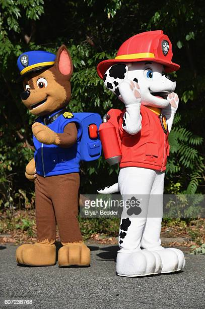 Characters Chase and Marshall of Paw Patrol attend Nickelodeon's 13th Annual Worldwide Day Of Play at The Nethermead Prospect Park on September 17...