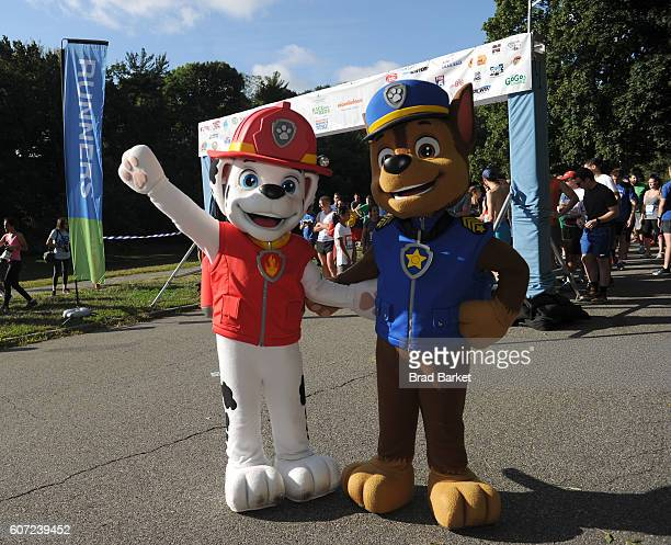Characters Chase and Marshall of Paw Patrol start the 5k race of Nickelodeon's 13th Annual Worldwide Day Of Play at The Nethermead Prospect Park on...