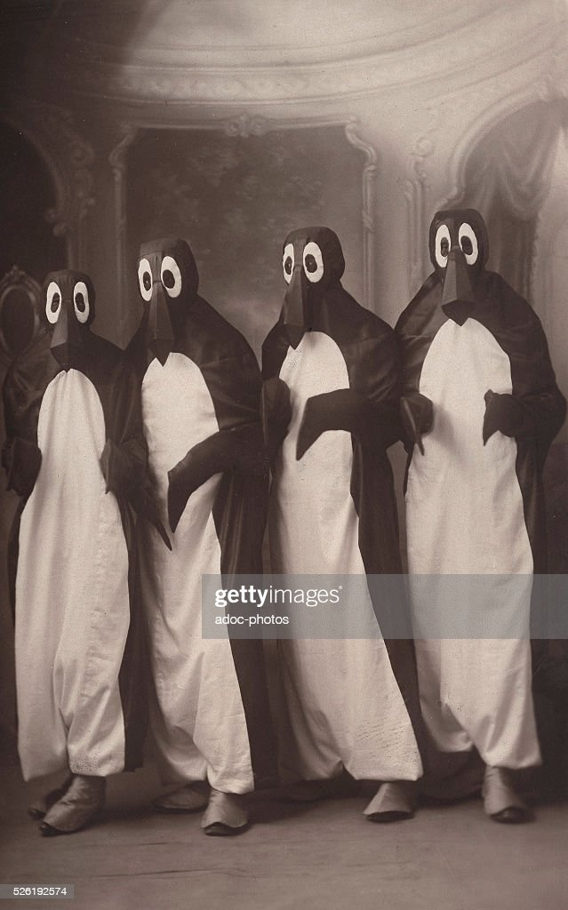 Characters dressed as penguins (France). In 1928.